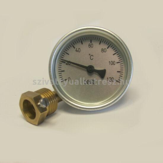 Bimetál hőmérő 0 +120˚C-os, 10cm-es, védőcsővel