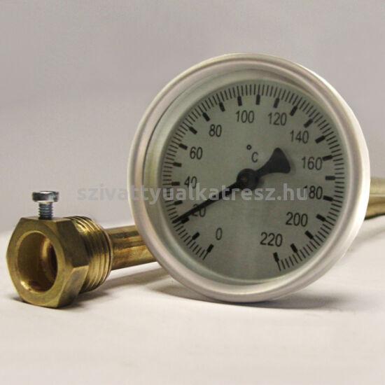 Bimetál hőmérő 0 +220˚C-os, 20cm-es, védőcsöves