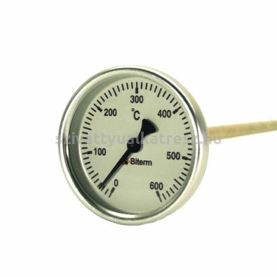 0-600°C-os kemencehőmérők menet nélkül bimetál