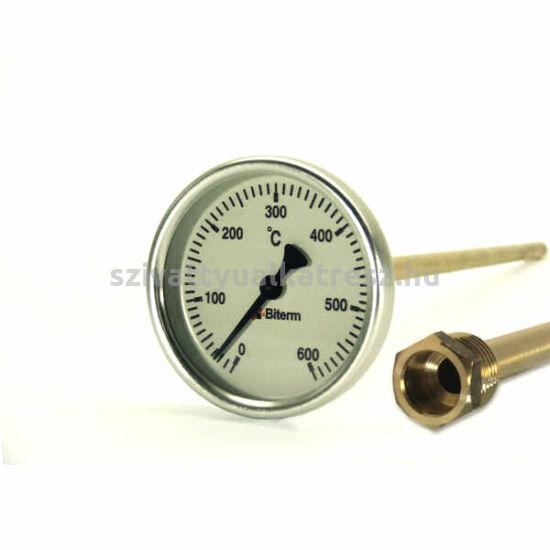 0-600°C-os kemencehőmérők védőcsővel bimetál