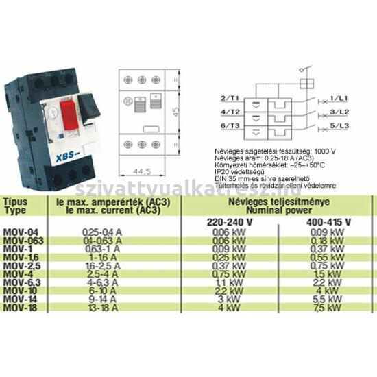 Kézi működtetésű motorvédő kapcsoló     4-6,3A//---1~1,kW---3~2,2kW